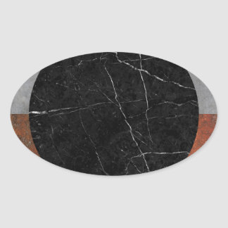 Abstract - Marble, Concrete, Rusted Iron Oval Sticker