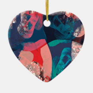 Abstract Marbled Ceramic Heart Decoration