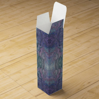 Abstract Marbled Purple Teal Turquoise and Black Wine Gift Box