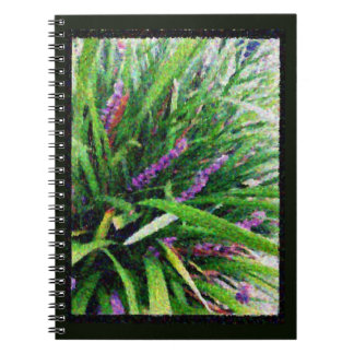 Abstract mauve flowering grass note book