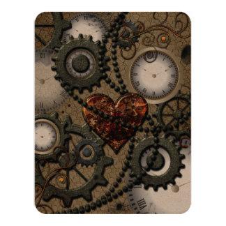 Abstract mechanical design 11 cm x 14 cm invitation card