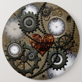 Abstract mechanical design 6 cm round badge