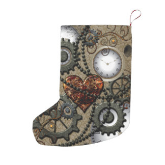 Abstract mechanical design small christmas stocking
