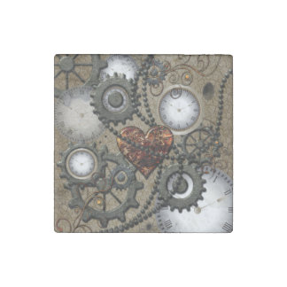 Abstract mechanical design stone magnet