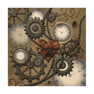 Abstract mechanical design wood canvas