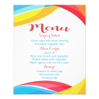 Abstract Menu Rainbow Wave Red Blue Wedding
