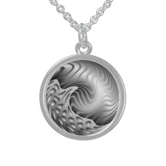 Abstract metal Print Sterling Silver Necklace