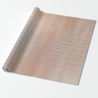 Abstract Metallic Rose Gold Blush Aqua Blue Urban Wrapping Paper