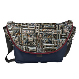 Abstract Metallic Structure Messenger Bags