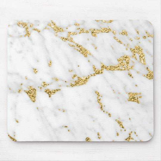 Abstract Minimal Gold White Gray Carrara Marble Mouse