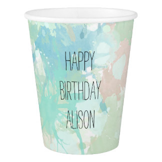 Abstract Mint Blue Watercolor Splashe Personalized Paper Cup