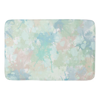 Abstract Mint Blue Watercolor Splashes Bath Mat