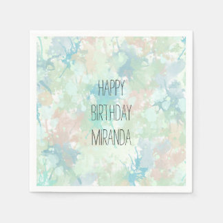 Abstract Mint Blue Watercolor Splashes Birthday Disposable Napkins
