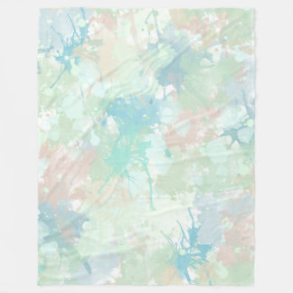 Abstract Mint Blue Watercolor Splashes Fleece Blanket