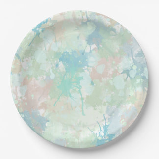 Abstract Mint Blue Watercolor Splashes Paper Plate