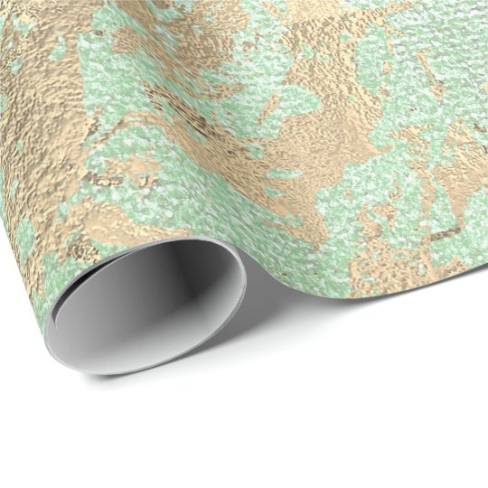 Abstract Mint Green Paint Golden Metallic Strokes Wrapping