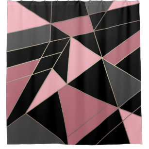 Abstract Modern Geometrical Triangles Print Shower Curtain