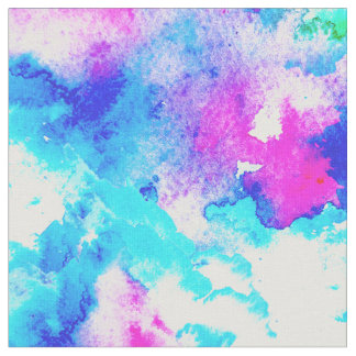 Abstract modern hand painted pink blue watercolor fabric