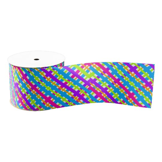 Abstract Modern Multicolor Neon Plaid Pattern Grosgrain Ribbon