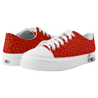 abstract modern red yellow pattern low tops