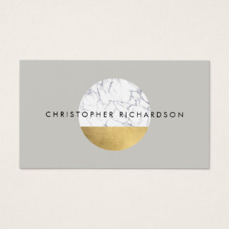 Abstract Modernist Marble/Gold Circle Logo Business Card
