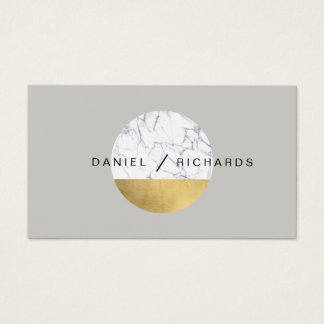 Abstract Modernist Marble/Gold Circle Logo Gray I Business Card