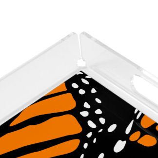 Abstract Monarch Butterfly Design Acrylic Tray