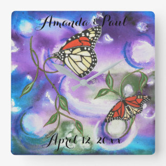 Abstract Monarch Butterfly Wedding Home Gifts Square Wall Clock