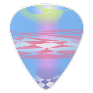 Abstract Monument White Delrin Guitar Pick