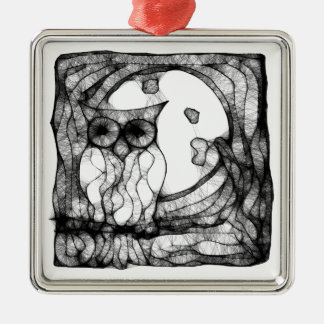 Abstract moody owl christmas ornament