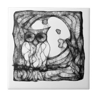 Abstract moody owl tile