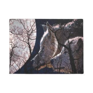 Abstract moon forest  tree door mat wolf