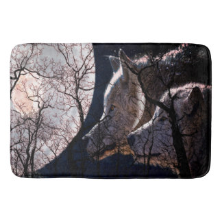 Abstract moon forest wolf tree bath mat