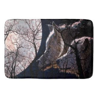 Abstract moon forest wolf tree bath mat bath mats