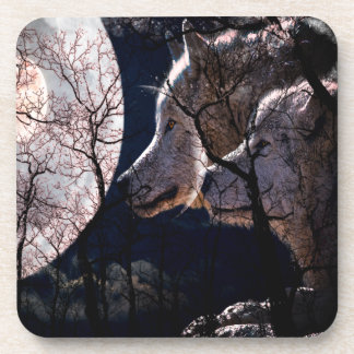 Abstract moon forest wolf tree coaster set