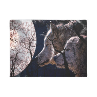 Abstract moon forest wolf tree door mat