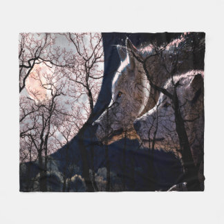 Abstract moon forest wolf tree fleece blanket