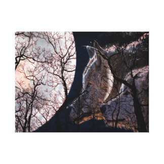 Abstract moon forest wolf tree gallery Canvas