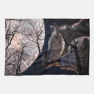 Abstract moon forest wolf tree kitchen towel