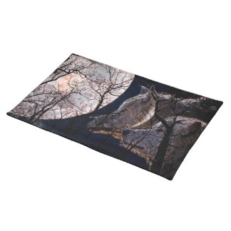 Abstract moon forest wolf tree place mat