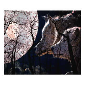 Abstract moon forest wolf tree print