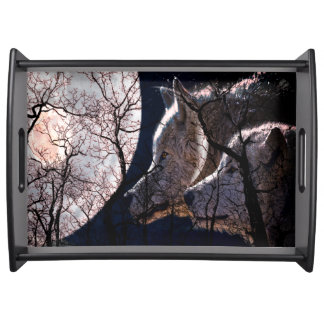 Abstract moon forest wolf tree serving tray