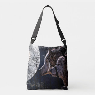 Abstract moon forest wolf tree tote bag