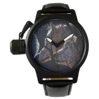 Abstract moon tree misty wolf watch