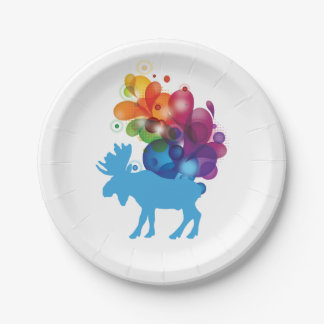 Abstract Moose Paper Plates 7 Inch Paper Plate