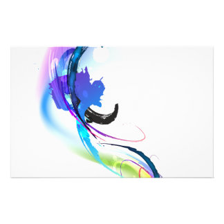 Abstract Morning Glory Paint Splatters Stationery Design