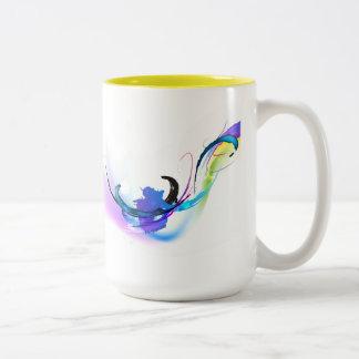 Abstract Morning Glory Paint Splatters Two-Tone Mug