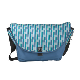 Abstract Mosaic Check Pattern Blue Teal Zigzag Courier Bag