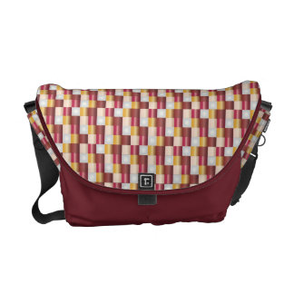 Abstract Mosaic Pattern Red Gold Texture Courier Bag
