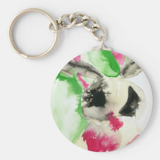 Abstract Moth Basic Round Button Key Ring